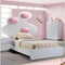 Lola Bed in High Gloss White with Pink Cushion - GLO-LOLA-228-P-M-BED