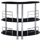 Maya Bar Table - Black Glass, Chrome Legs