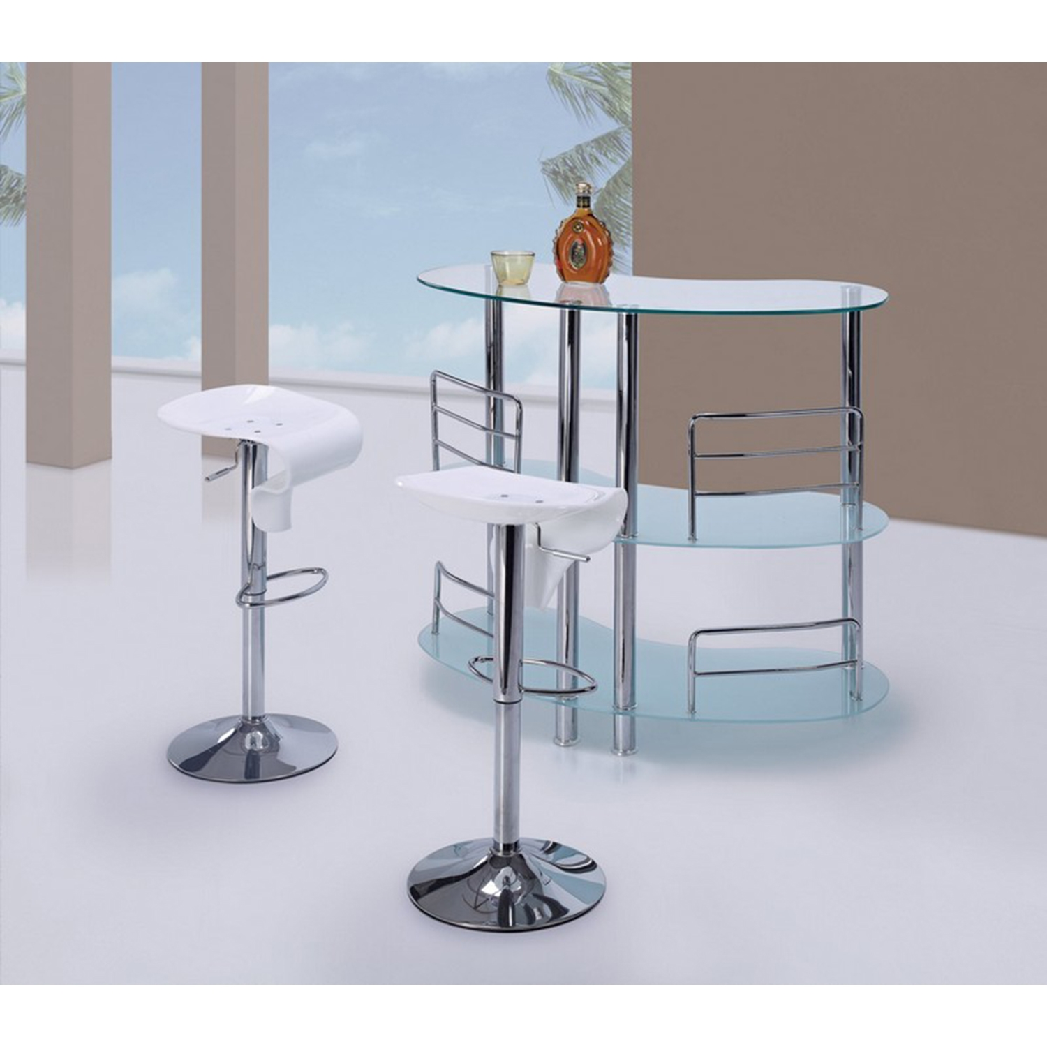 Maya Bar Table - Frosted Glass, Chrome Legs - GLO-MBT02-FR-M