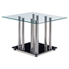 Aubrey End Table, Clear/Black/Stainless Steel