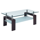 Melanie Coffee Table in Clear and Frosted Glass, Dark Walnut