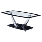 Audrey Coffee Table - Clear Top, Black Trim, Chrome Legs