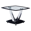 Audrey End Table - Clear Top, Black Trim, Chrome Legs