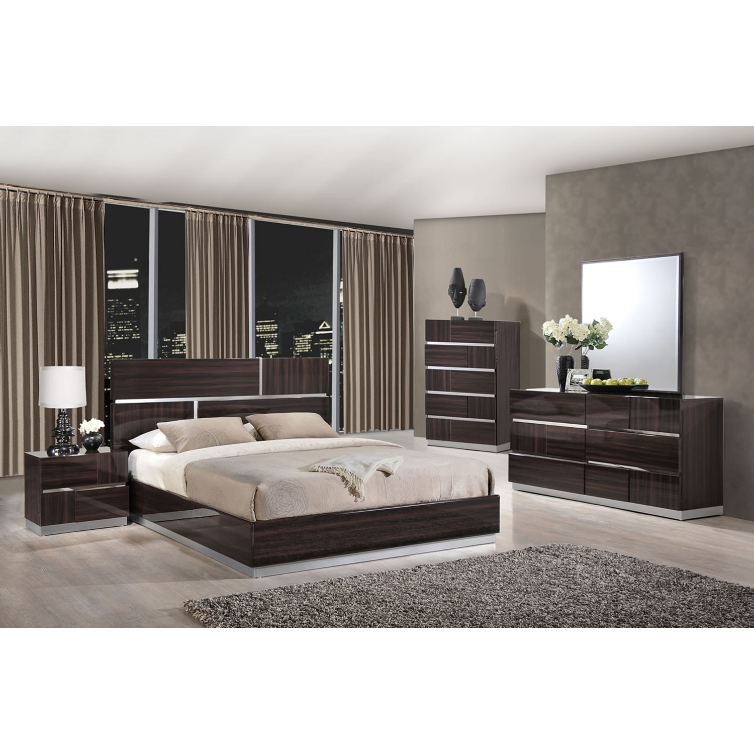 Tribeca Chest - High Gloss Brown Wood Grain - GLO-TRIBECA-110-CH