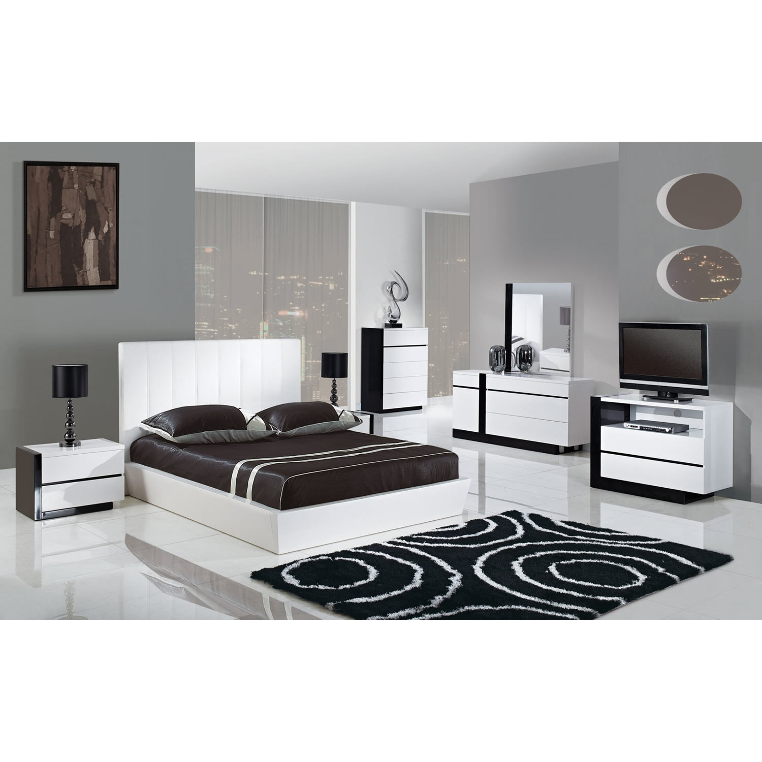 Trinity Bedroom Set in White - GLO-TRINITY-BED-SET