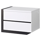 Trinity Left Nightstand - White with Black Glossy Finish