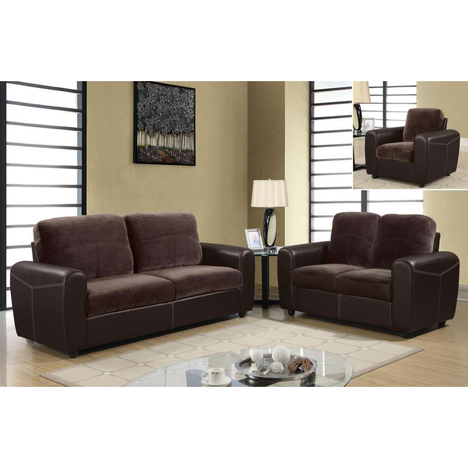 Joel Sofa Set - Chocolate/Brown Two Tone Color