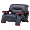 Valerie Bonded Leather Chair - Black with Mahogany Legs