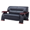 Valerie Bonded Leather Sofa Set in Black with Mahogany Legs - GLO-U2033-RV-BL-SET