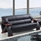 Valerie Bonded Leather Sofa in Black with Mahogany Legs - GLO-U2033-RV-BL-S