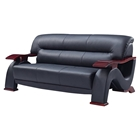 Valerie Bonded Leather Sofa in Black with Mahogany Legs