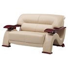 Valerie Leather Loveseat in Cappuccino