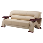 Valerie Bonded Leather Sofa in Cappuccino Upholstery, Mahogany Legs