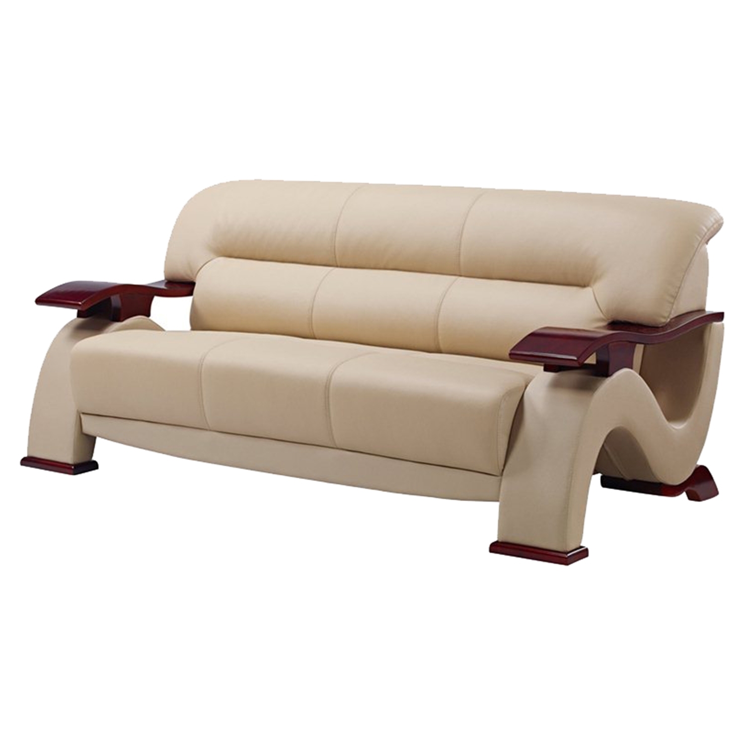 Valerie Leather Sofa - Cappuccino
