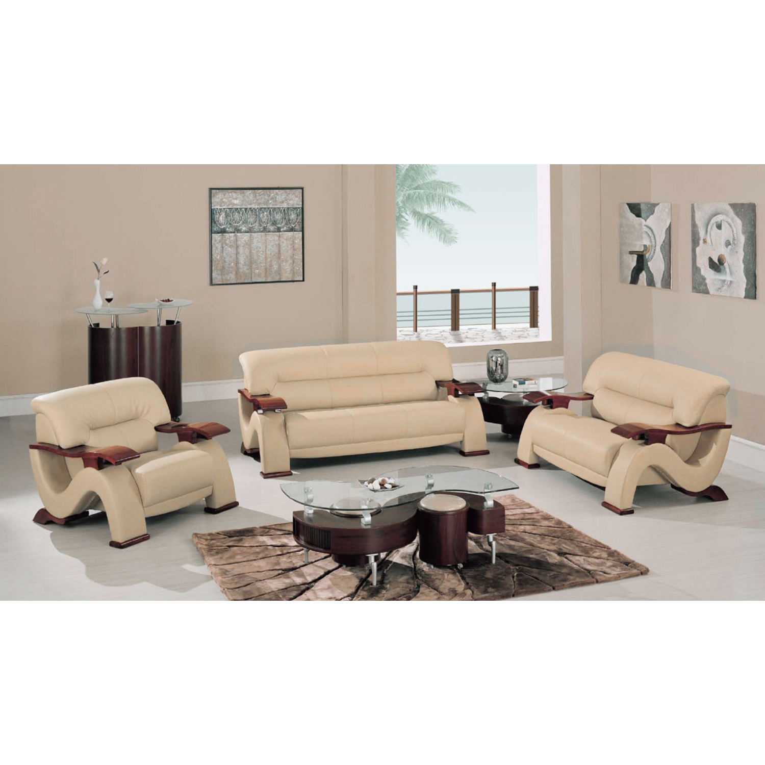 Valerie Bonded Leather Sofa Set in Cappuccino Upholstery with Mahogany Legs