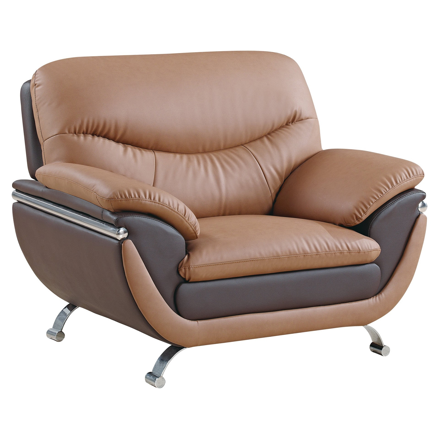 Chair  - Light Brown and Dark Brown Leather, Chrome Legs