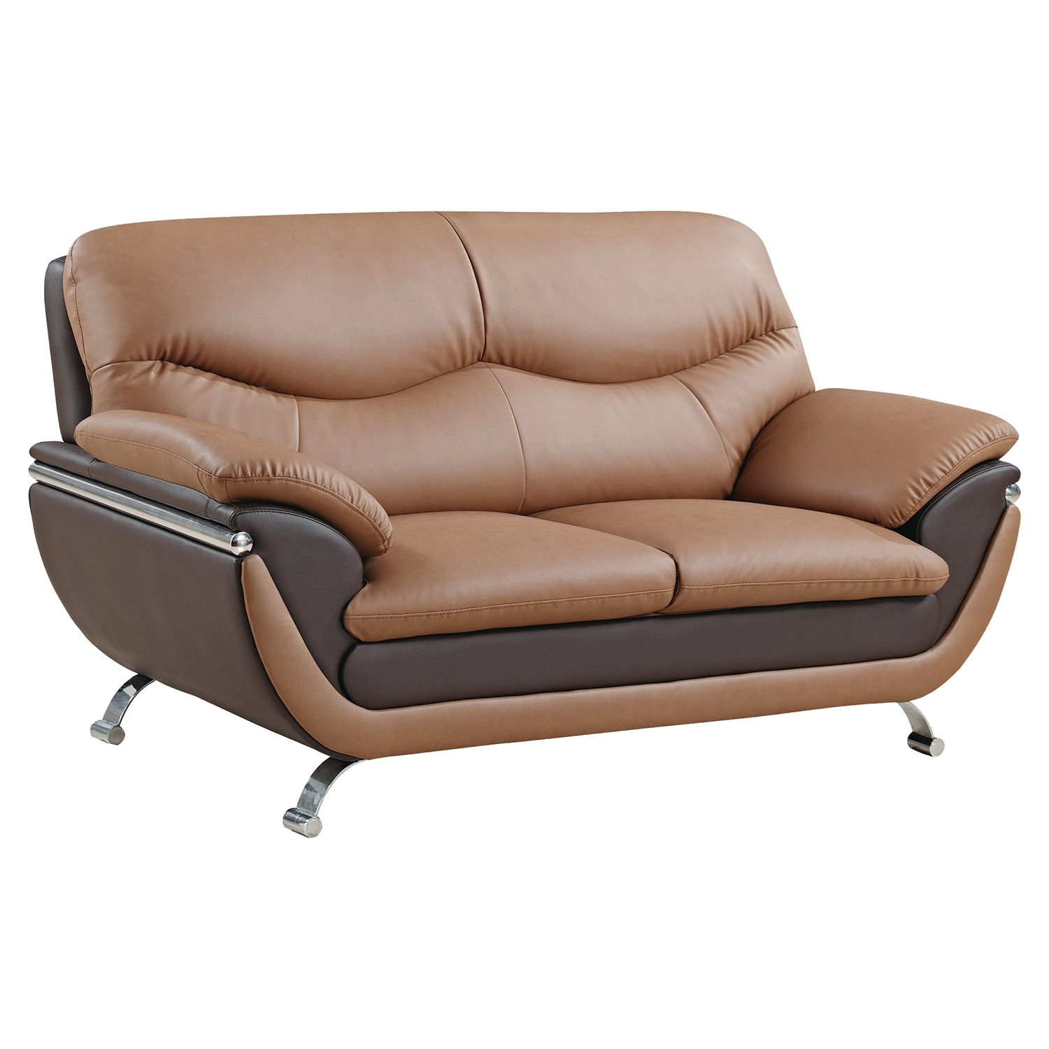 Loveseat - Light Brown and Dark Brown Leather, Chrome Legs