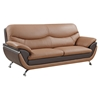 Sofa - Light Brown and Dark Brown Leather, Chrome Legs