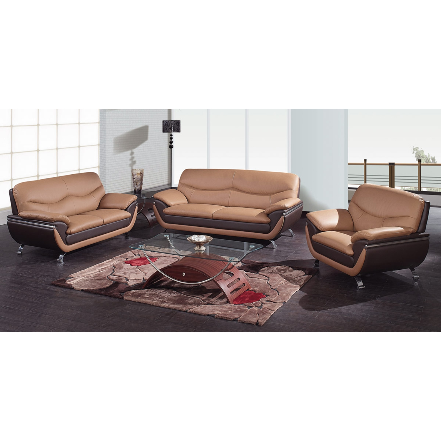 Sofa Set in Light Brown and Dark Brown