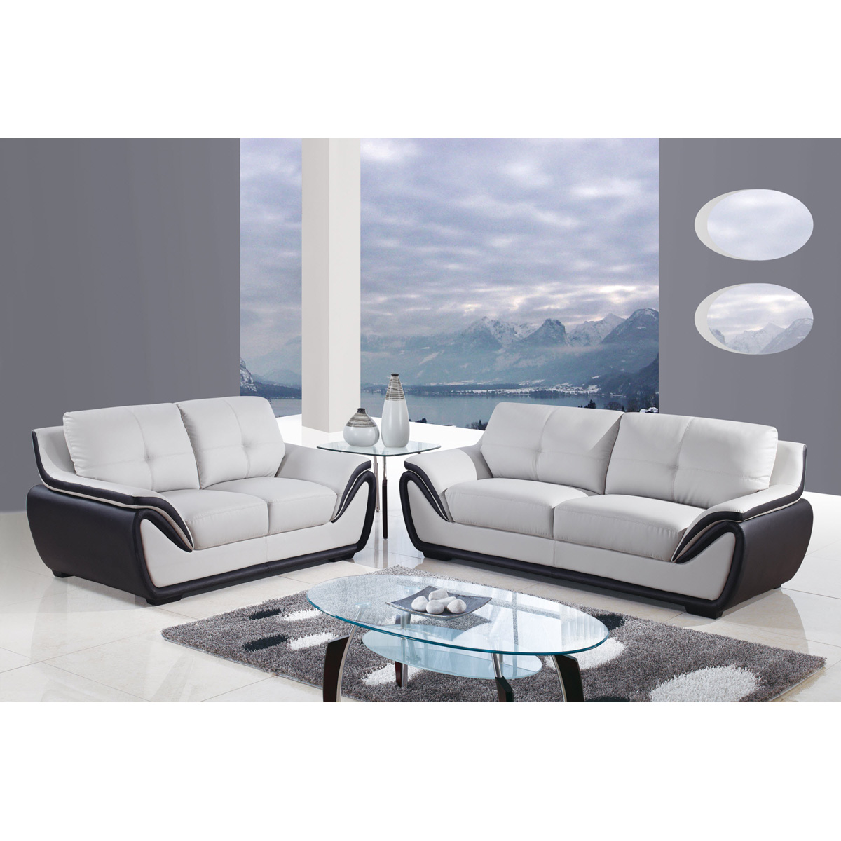 Bryson Sofa Set in Gray and Black