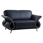 Wesley Leather Loveseat - Black