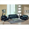 Wesley Sofa Set - Black Leather