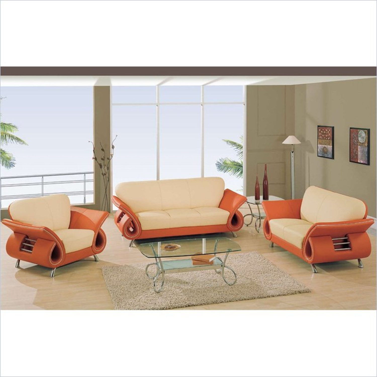 Wesley Leather Chair in Beige and Orange - GLO-U559-LV-CH