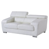 Caitlyn Loveseat with Headrest, White Leather