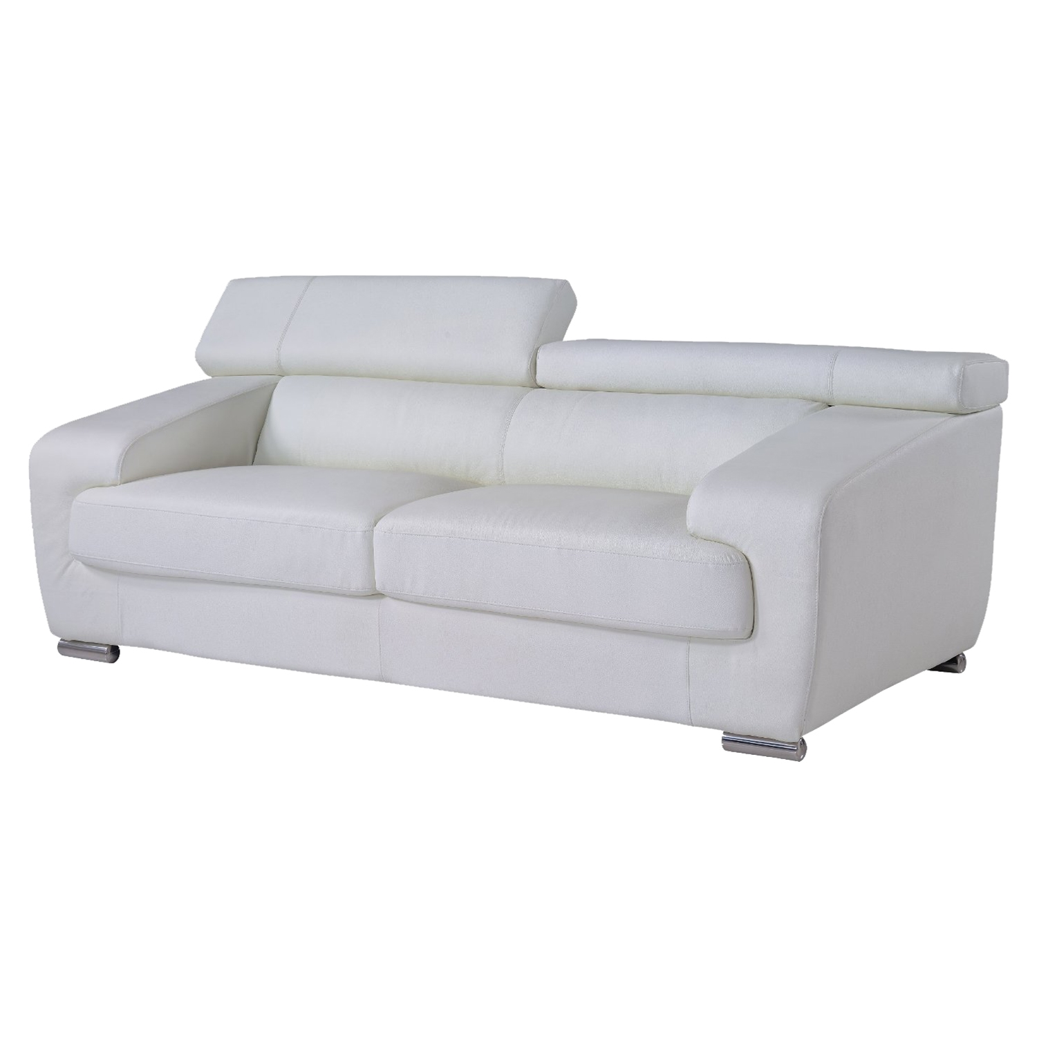 Caitlyn Sofa with Headrest - White Leather