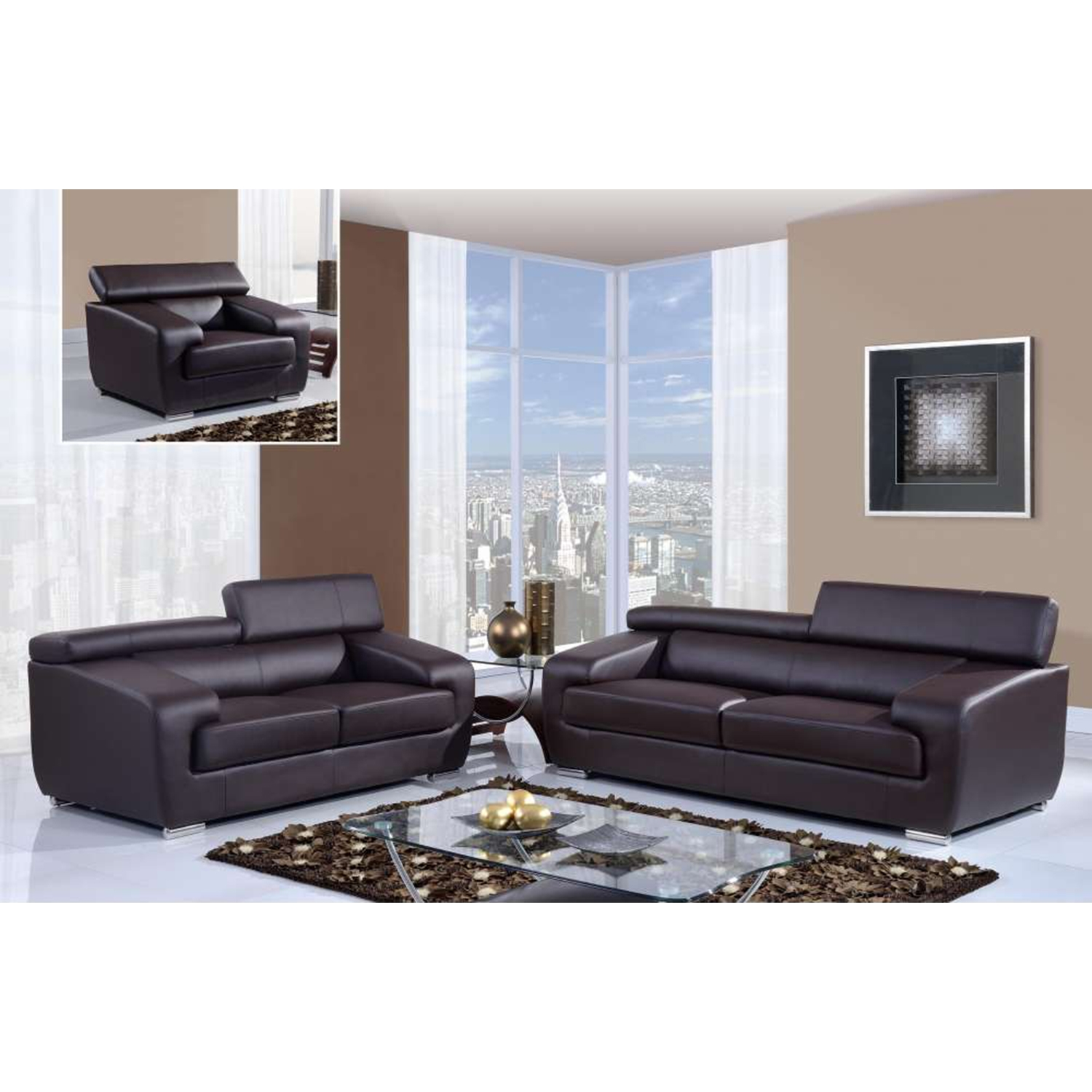 Caitlyn Sofa Set in Natalie Chocolate - GLO-U7090-R6U6-SET