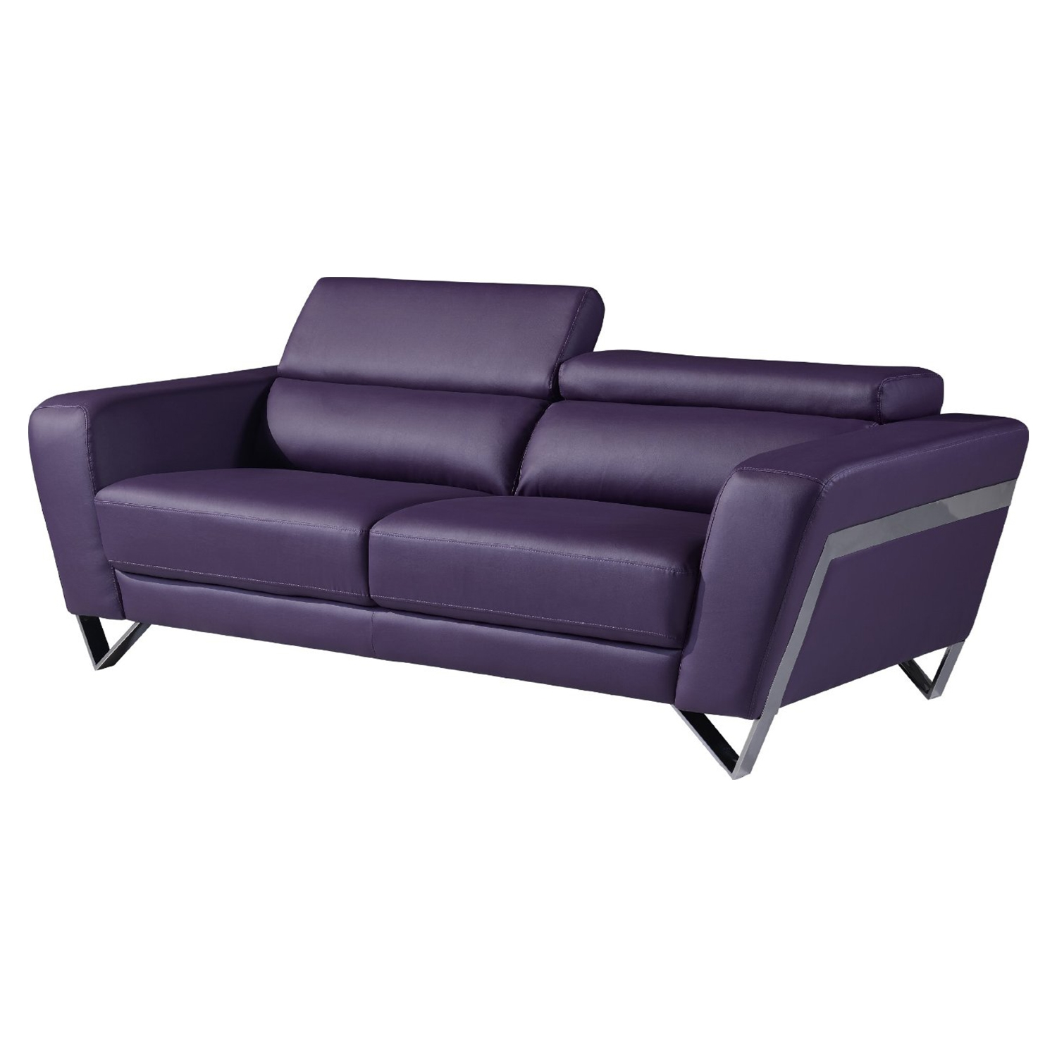 Braden Sofa with Headrest, Purple