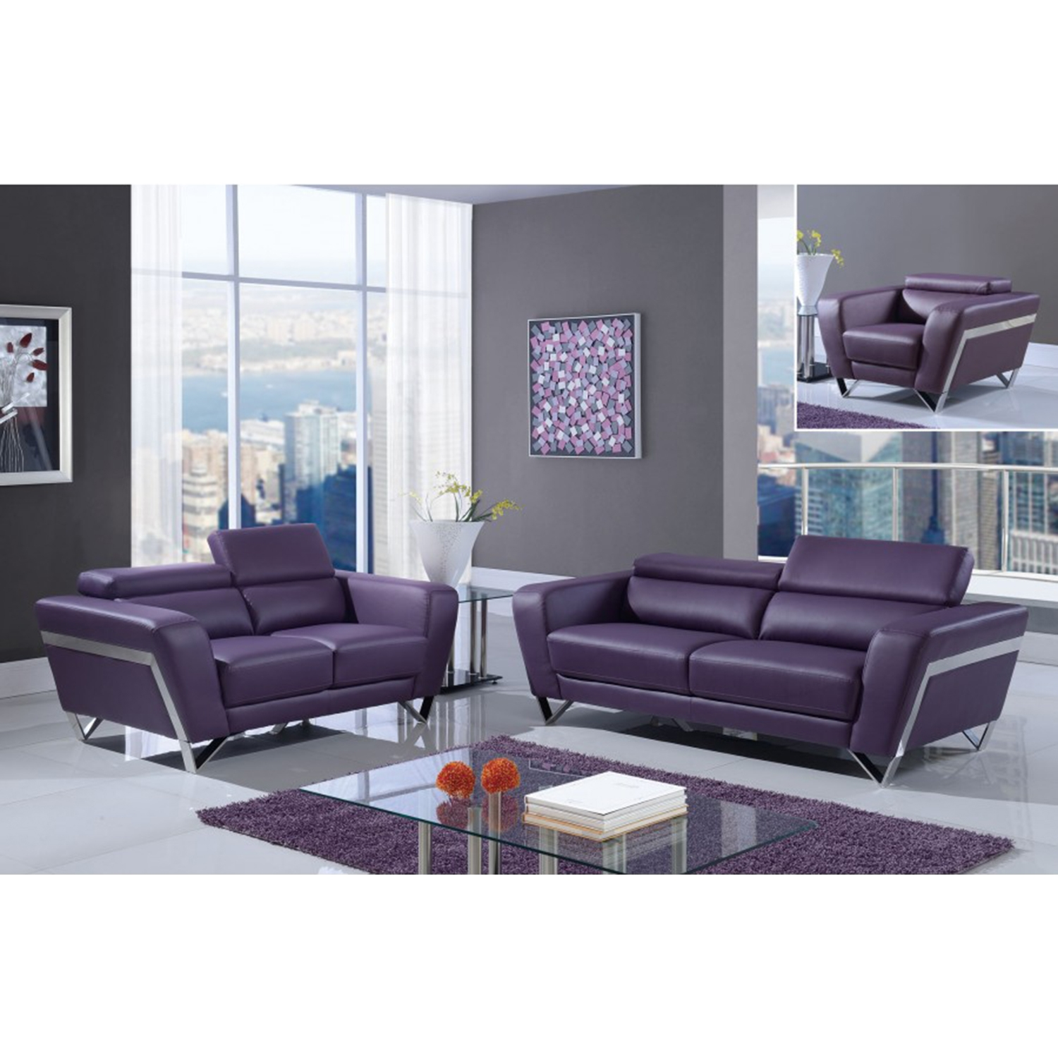 Braden Sofa Set with Headrest - Natalie Purple