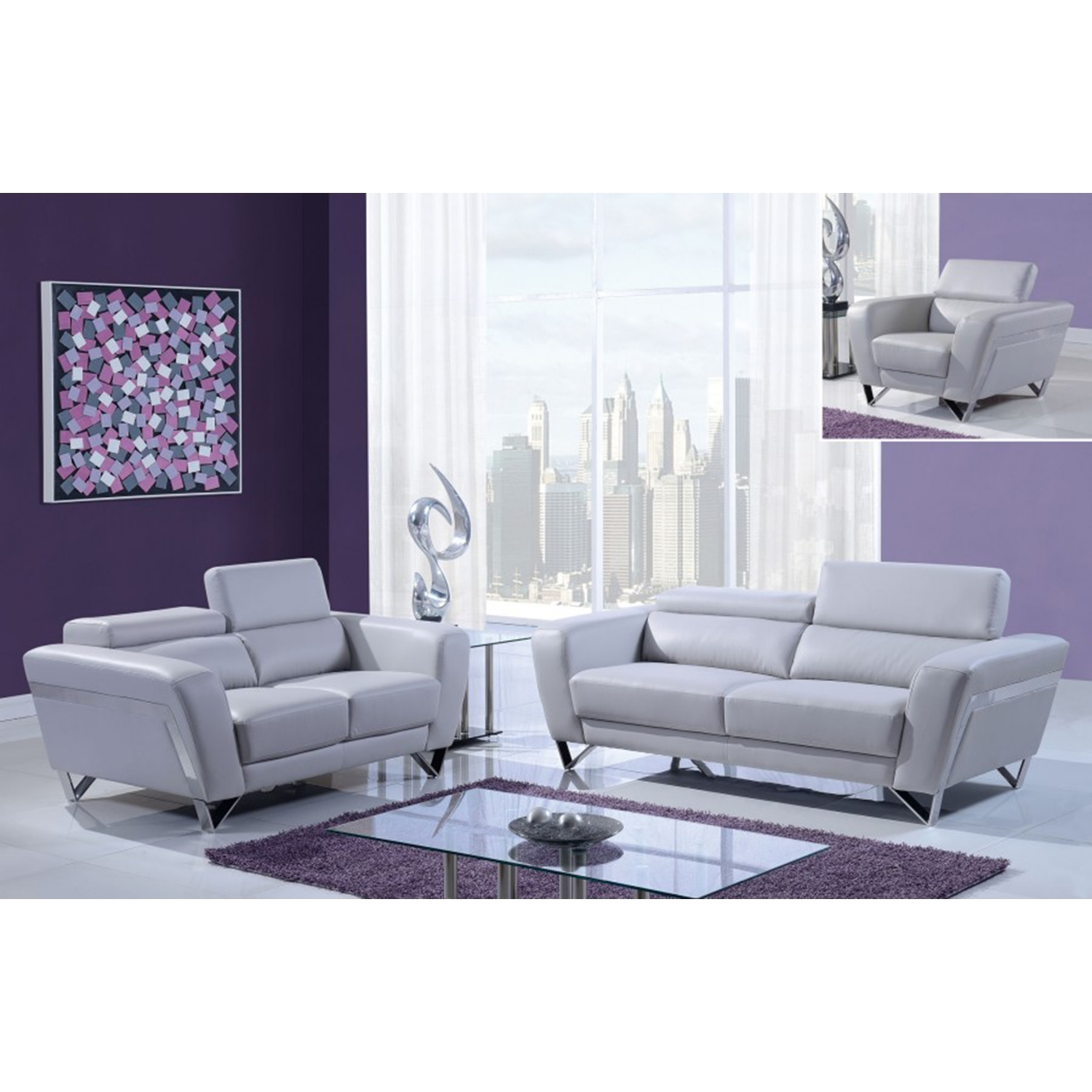 Braden Sofa Set - Light Gray