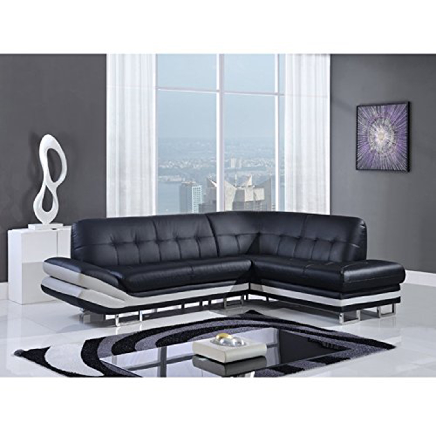 Elias 2-Piece Leather Sectional Sofa in Natalie Black/Natalie Light Gray