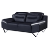 Karen Leather Loveseat in Black