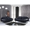 Karen Leather Sofa Set in Black - GLO-U7181-L6R-BL-WH-SET