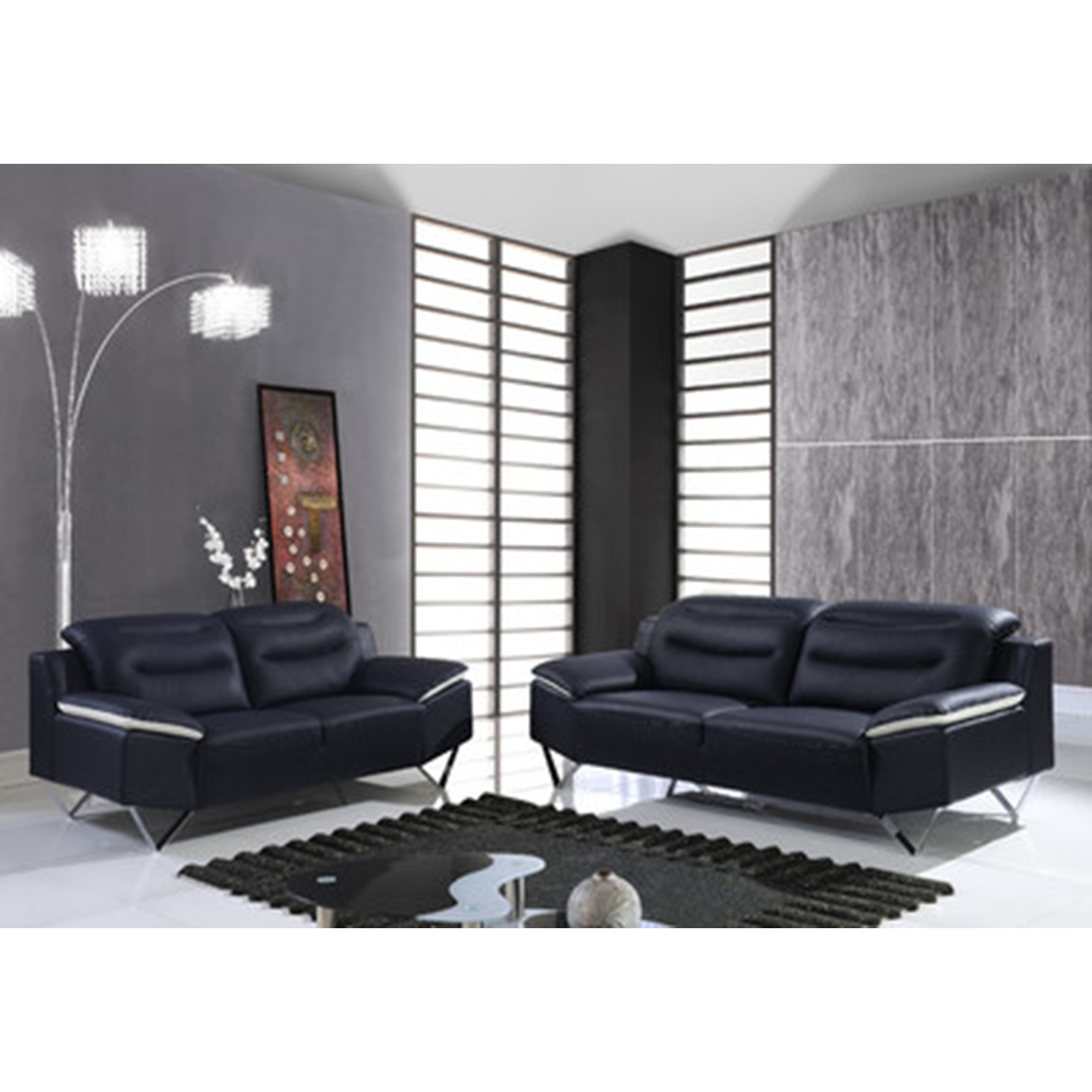 Karen Leather Sofa Set in Black