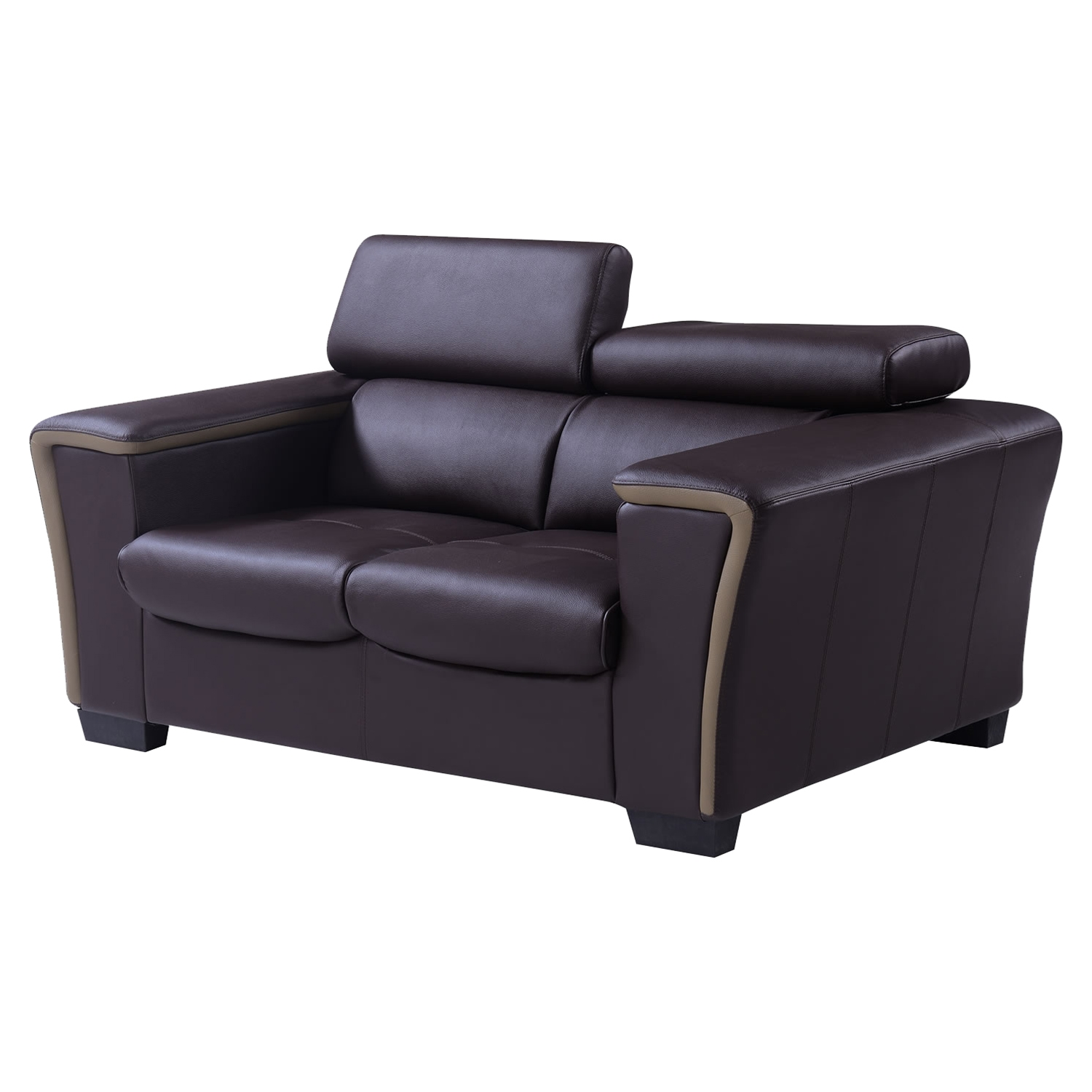 Mikayla Loveseat with Headrest Function in Chocolate/Dark Cappuccino