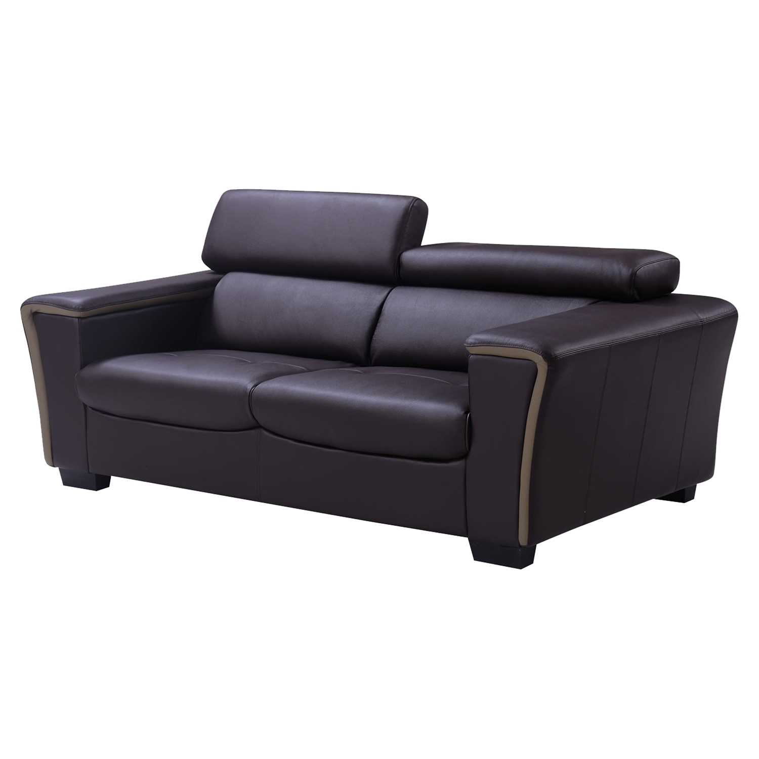 Mikayla Sofa with Headrest Function - Chocolate/Dark Cappuccino