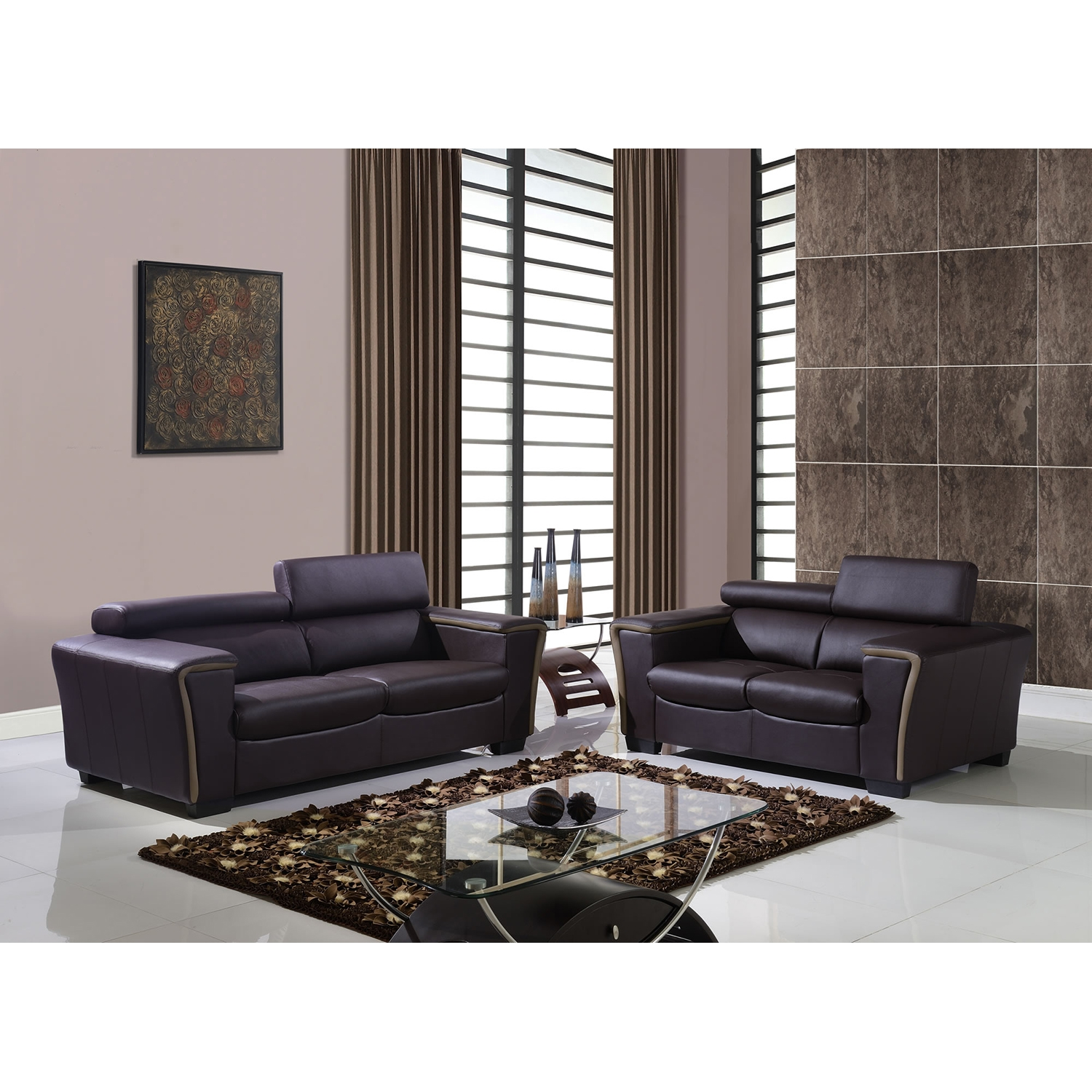 Mikayla Sofa Set with Headrest Function in Chocolate/Dark Cappuccino