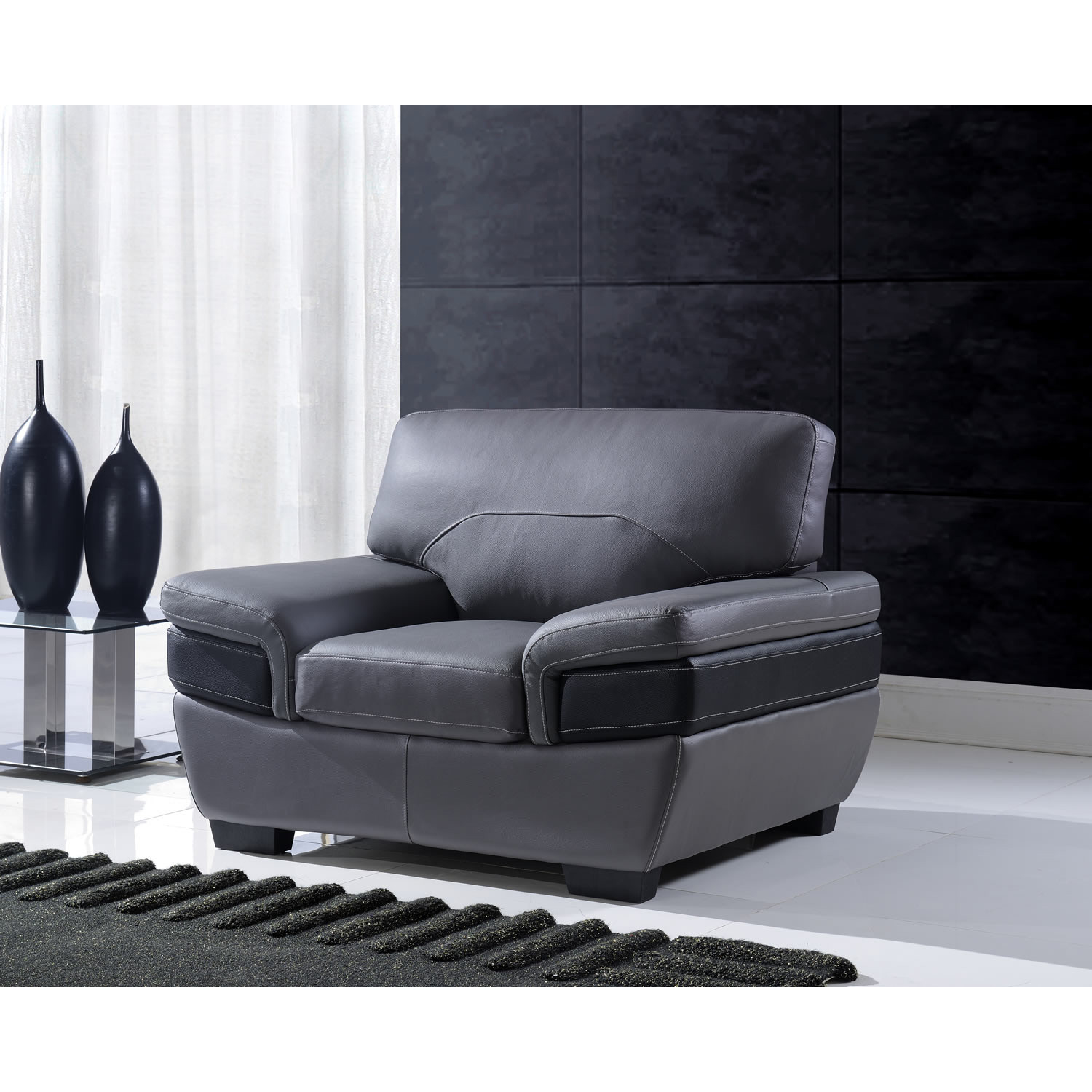 Alicia Leather Chair in Dark Gray/Black