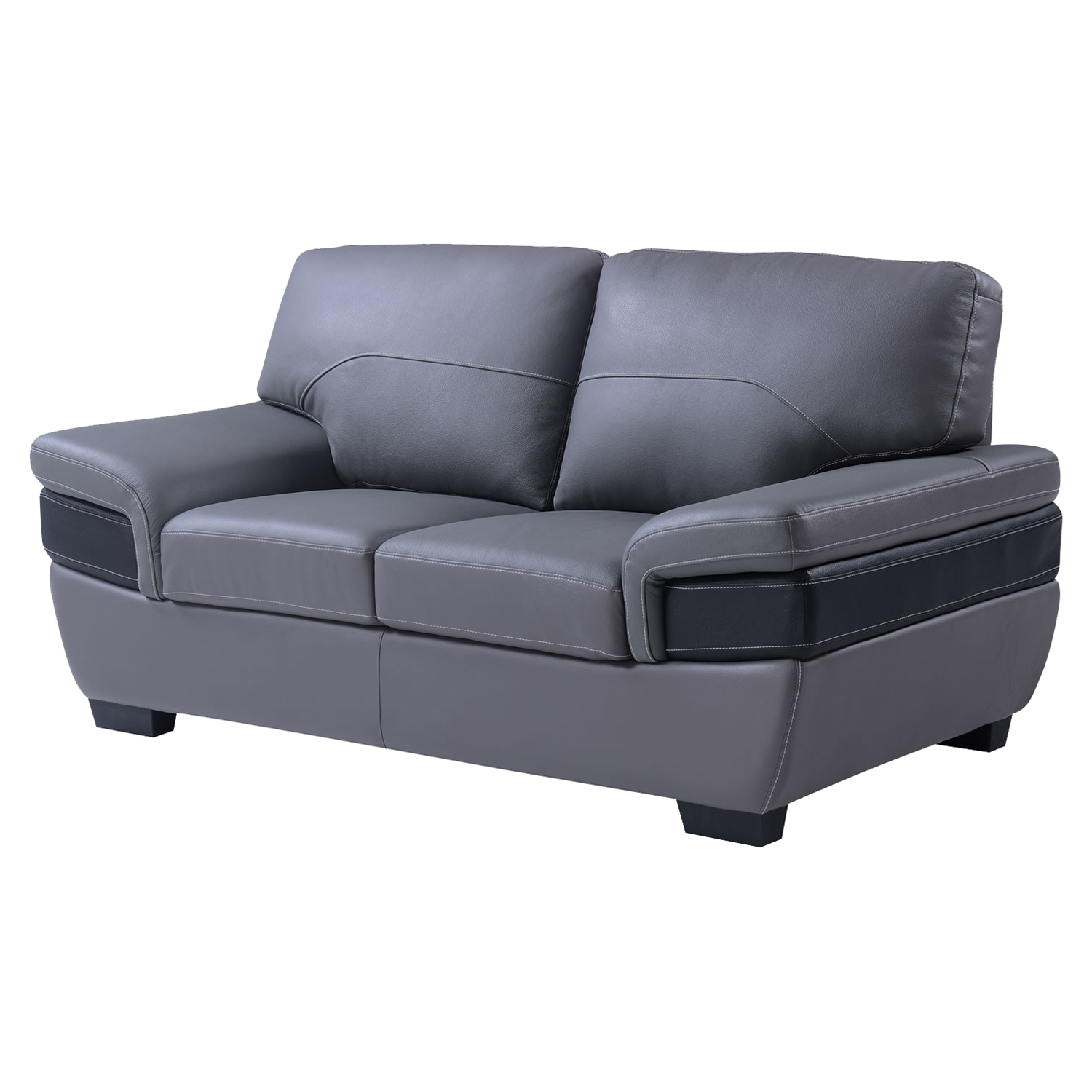 Alicia Leather Loveseat, Dark Gray/Black