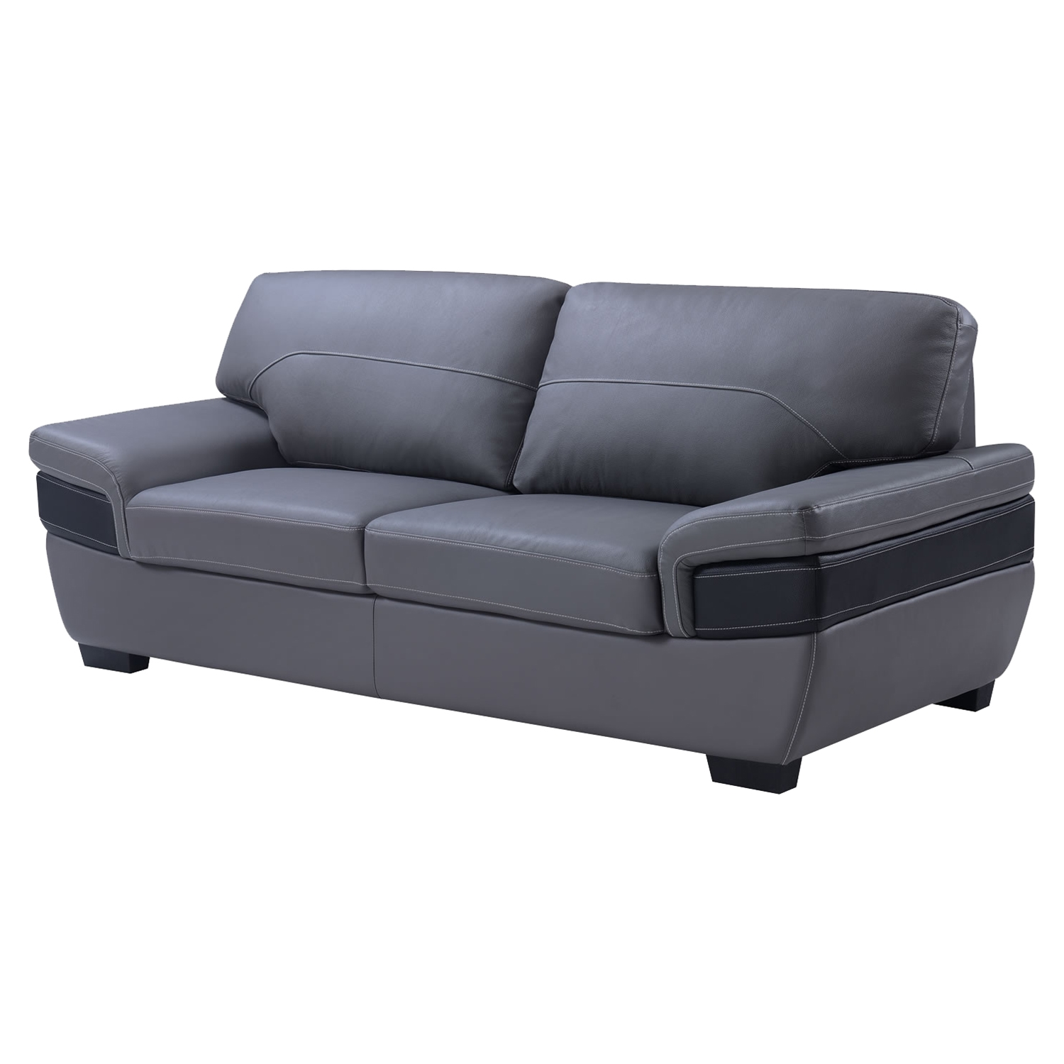 Alicia Leather Sofa - Dark Gray/Black - GLO-U7230-L6R-S