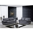Alicia Leather Sofa Set - Dark Gray/Black