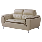 Jalen Loveseat, Khaki/ Dark Cappuccino Leather
