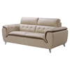 Jalen Leather Sofa in Khaki/ Dark Cappuccino