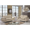 Jalen Sofa Set - Khaki/ Dark Cappuccino Leather