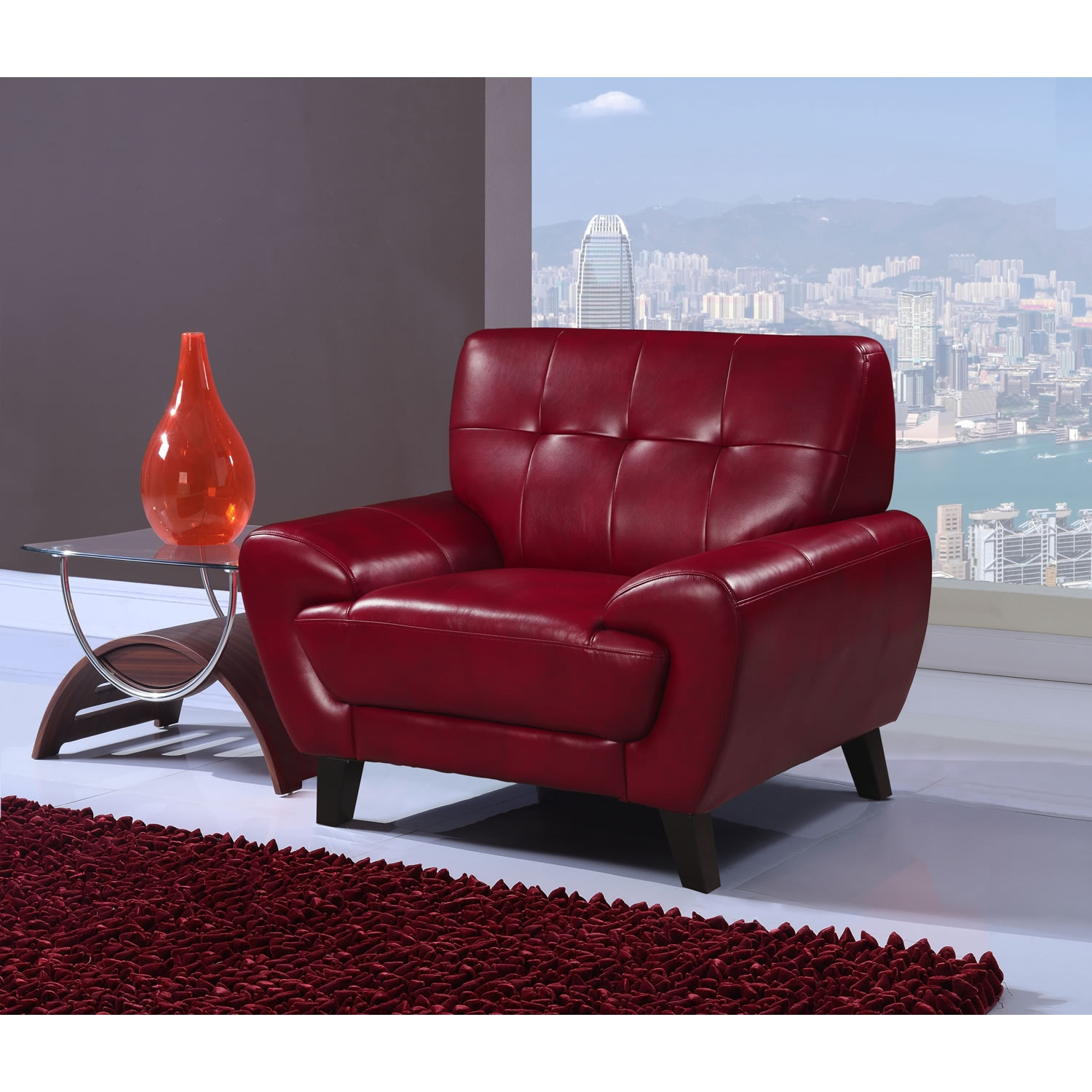 Juliana Leather Chair in Blanche Red - GLO-U7400-CH