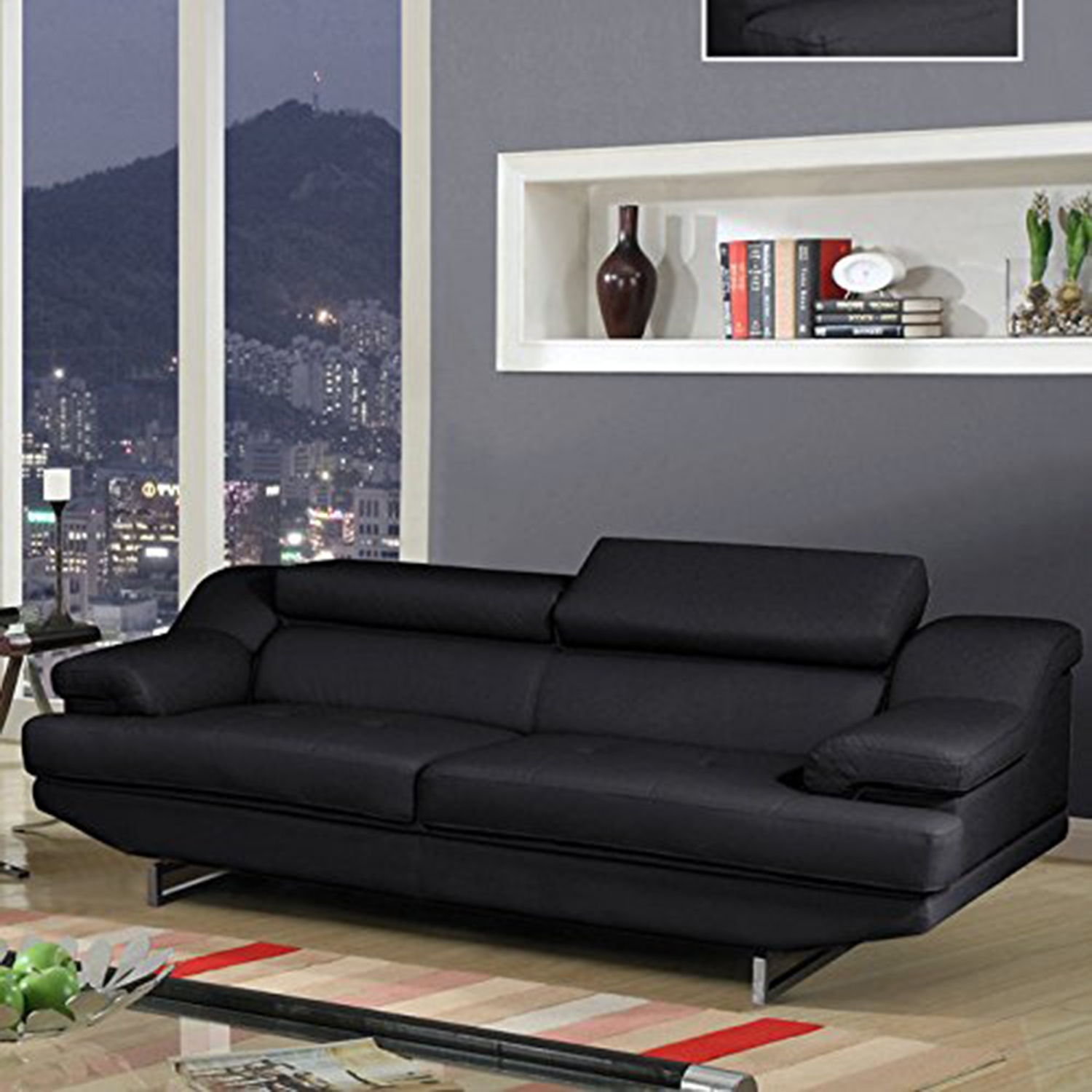 Charlotte Sofa in Black Leather
