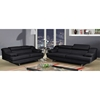 Charlotte Black Leather Sofa Set
